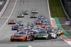 Start, Porsche 911 GT3 Cup, Larry ten Voorde (NL), Dorian Boccolacci (F), Porsche Mobil 1 Supercup, Spielberg 2021