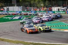 Start, Porsche 911 GT3 Cup, Team GP Elite (#25), Larry ten Voorde (NL), Nebulus Racing by Huber (#29), Laurin Heinrich (D), Porsche Mobil 1 Supercup 2021, Monza (I)