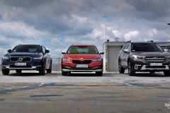 Trzy podwyższone kombi: Subaru Outback, Volvo V90 Cross Country i Skoda Superb Scout - test