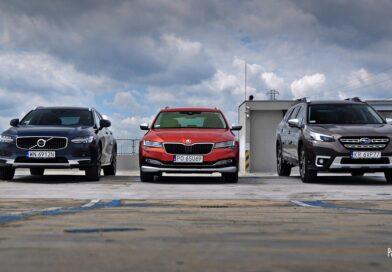 Trzy podwyższone kombi: Subaru Outback, Volvo V90 Cross Country i Skoda Superb Scout – test
